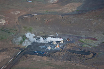 Aerial of Kisilidjan Diatomite Plant, Bjarnarflag, used to process Diaomaceous earth, an abrasive substance formed from the s...