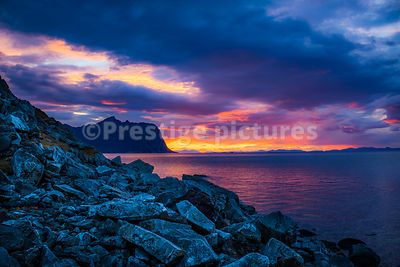 Sunset over the sea by Gryllefjord on the Arctic island of Senja