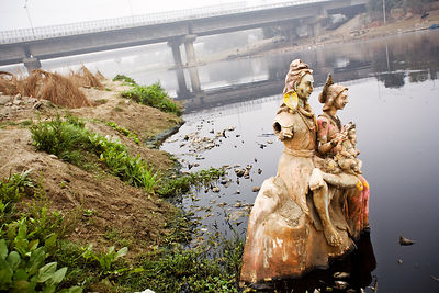A religious icon on the banks of the Yamuna