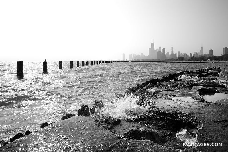 LAKEFRONT FULLERTON AVENUE CHICAGO BLACK AND WHITE