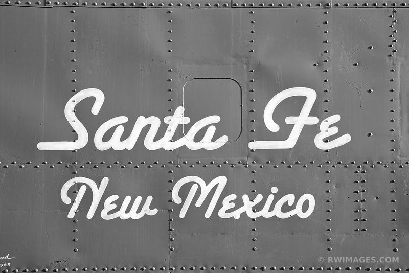 OLD RED CABOOSE SANTA FE NEW MEXICO BLACK AND WHITE