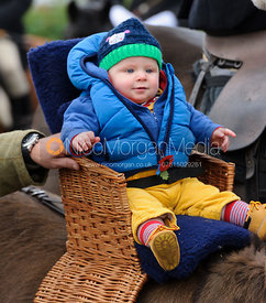 A young follower at the meet - The Belvoir Hunt at Long Clawson, 2-11-13