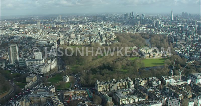 London Aerial footage, Hyde Park Corner towards Buckingham Palace and Buckingham Palace Gardens.
