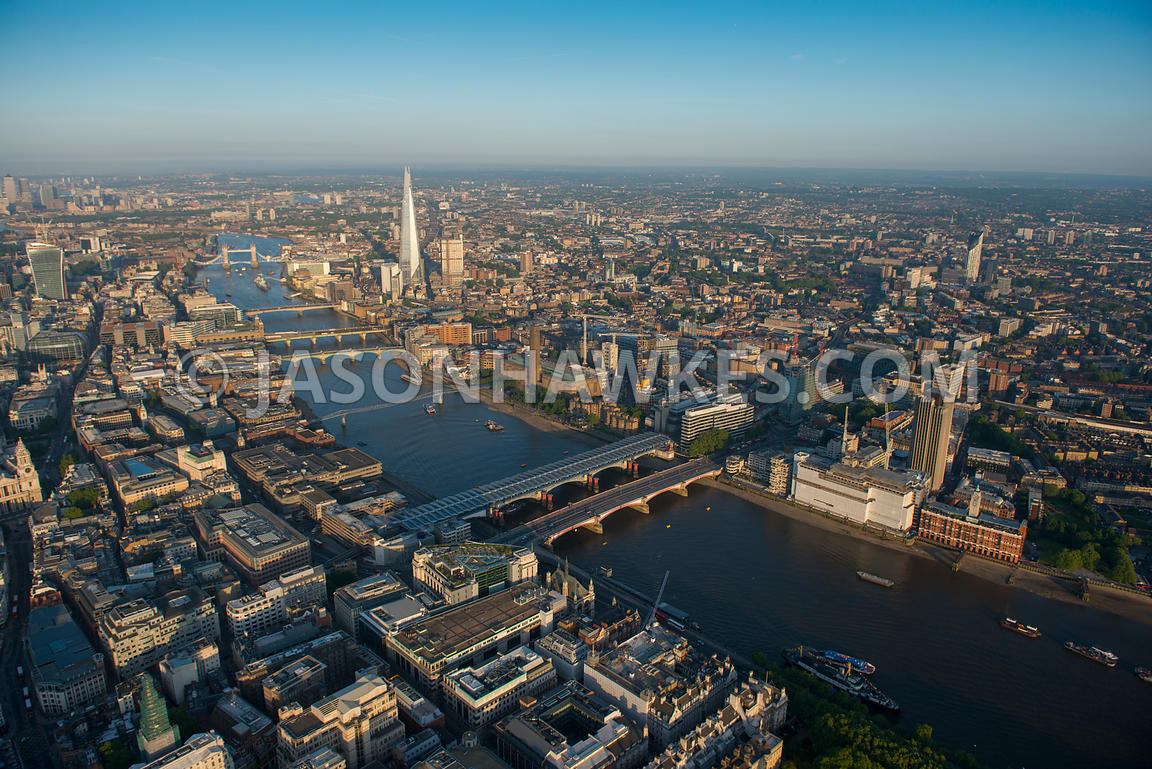 Aerial view of the Thames and the City of London, London