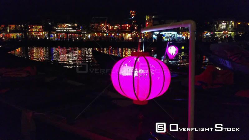 Purple Lantern, Uhd Handheld View of a Colrful Lantern, Infront of Hoi an City, Sunny Autumn Night, Vietnam