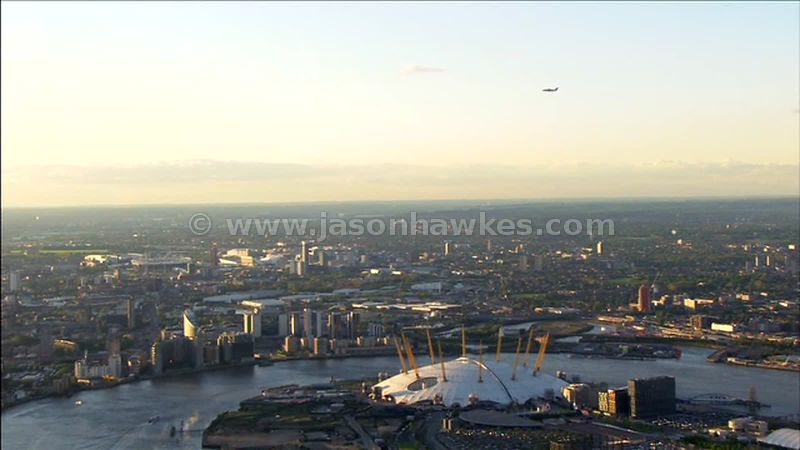 Aerial footage around the O2 Arena, Greenwich, London, England, UK