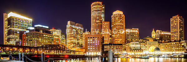 Boston Skyline Harbor at Night Panoramic Picture