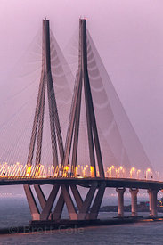 Bandra-Worli Sealink bridge at dusk, Mumbai, India.