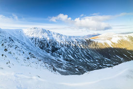 Looking across to Raise in winter from Swirral Edge in the Lake District.
