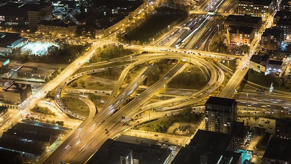 Bird's Eye: Circle Interchange from Above at Night