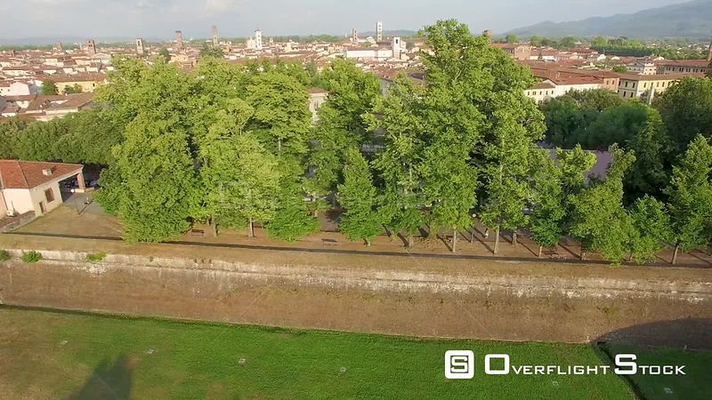 Aerial summer view of Lucca, beautiful medieval town in Tuscany, Italy