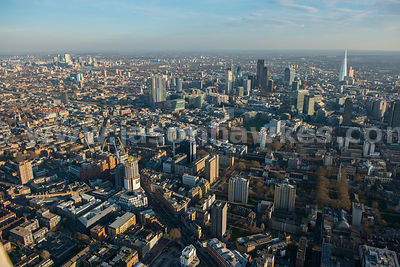 Aerial view of Old Street and teh City, London