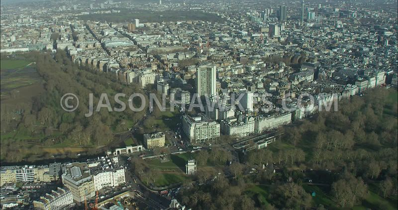 London Aerial footage, Hyde Park Corner with Green Park.