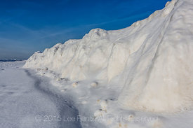 Ridge of Ice Built up During Winter Storms in Rosy Mound Natural Area along Lake Michigan