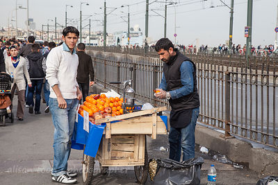 Fruit juice seller, Galata Bridge, Istanbul,