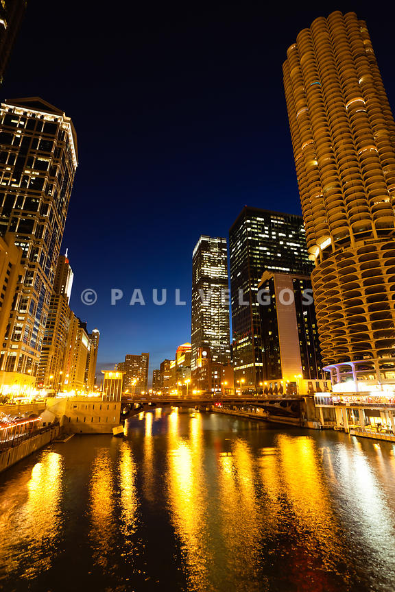 Chicago River Cityscape at Night