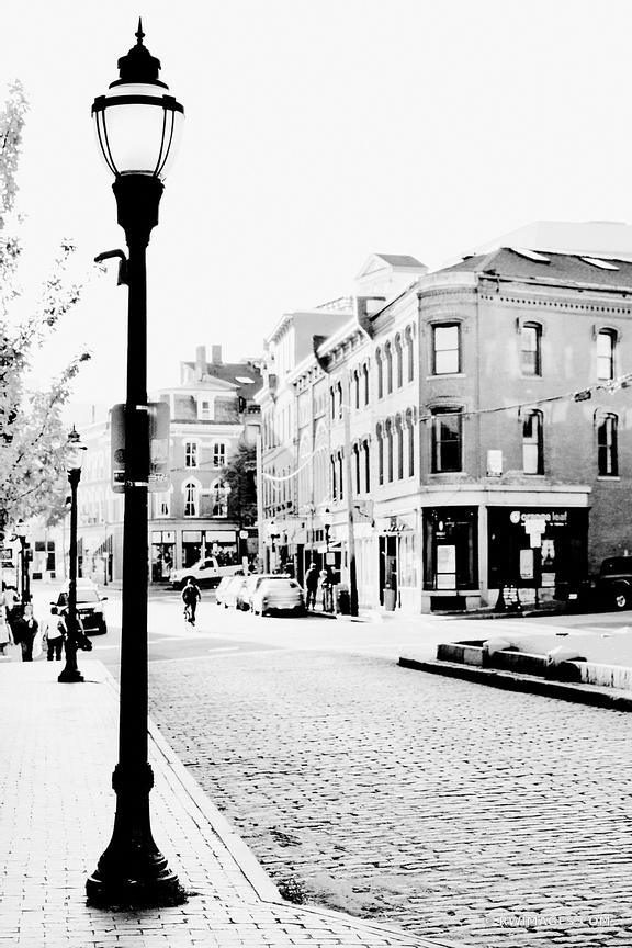 DOWNTOWN PORTLAND MAINE COBBLESTONE STREET BLACK AND WHITE VERTICAL