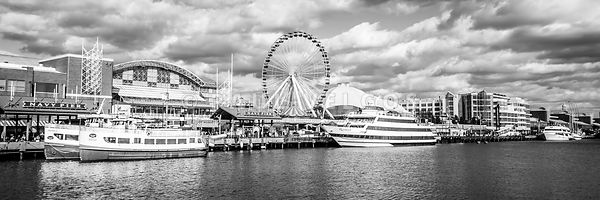 Panoramic Navy Pier Black and White Photo