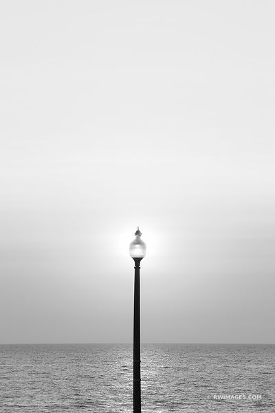 STREET LAMP LAKE MICHIGAN SUNRISE CHICAGO BLACK AND WHITE VERTICAL