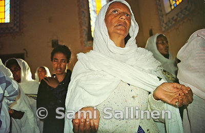 Catholic, protestant and orthodox Christian women pray for peace in the Kidane Mehret church in the Eritrean capital Asmara.