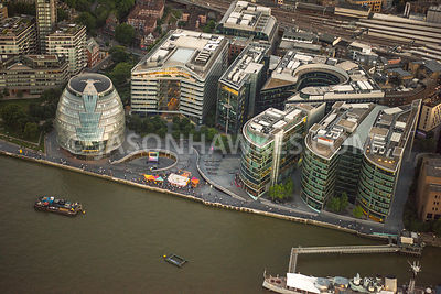 Aerial view of London, City Hall and River Thames with Potters Field Park.