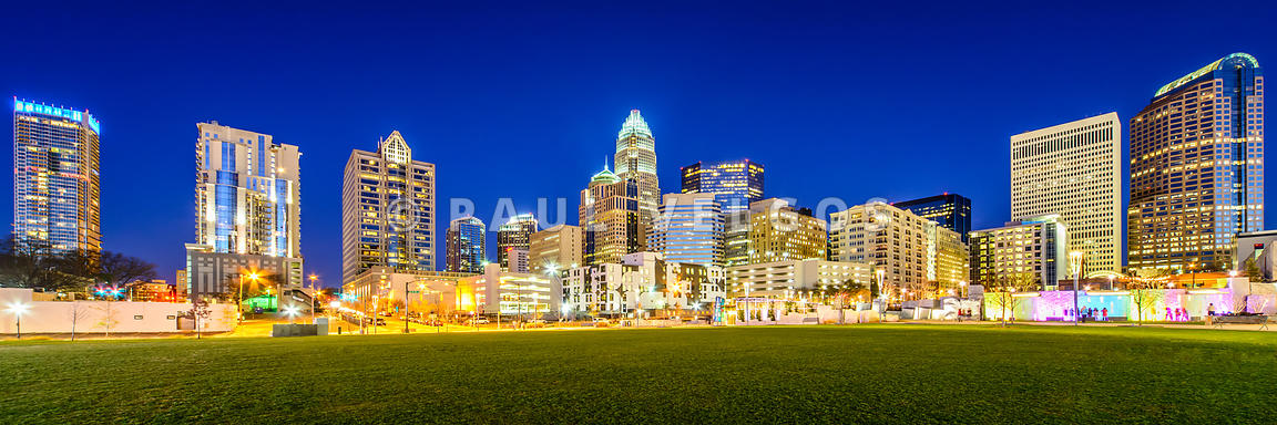 Charlotte Skyline at Night Panorama Photo