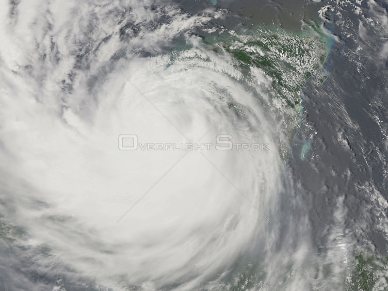 EARTH Atlantic Ocean -- 21 Aug 2007 -- This image shows Hurricane Dean as it re-emerged over the Gulf of Mexico after crossin...