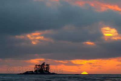 Sunset over Fan Island in the open Pacific Ocean. From Fan Point, Great Bear Rainforest, British Columbia