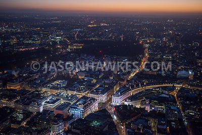 Night aerial view of Piccadilly Circus, St James's, London. Aerial view. London .