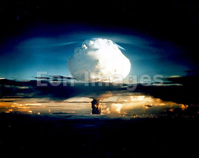 Mushroom cloud from test of first hydrogen bomb