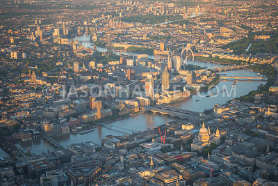 Aerial view of London with River Thames and Blackfriars Bridges.