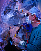 Brain microsurgery to remove tumour