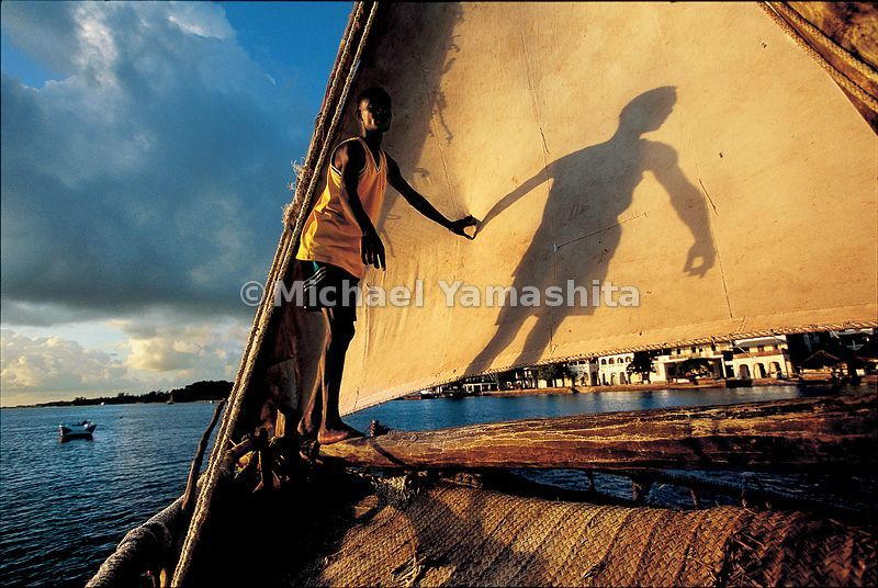 Traditional sailing dhows are still the main form of transportation between the car-less islands of the Lamu archipelago.