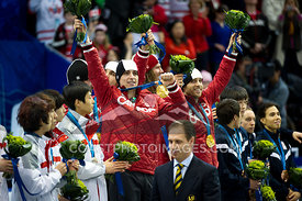 Feb 26, 2010: Pacific Coliseum, Vancouver, BC. Team Canada celebrates their Gold Medal in the Mens 5000m Relay in the Short Track Speed Skating at the Vancouver 2010 Winter Olympics. Photo by Scott Brammer/coastphoto.com