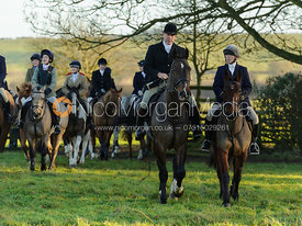Martin Willcox and Caroline Stewart arrive at the  Belvoir Hunt meet at Eaton Grange 2/1