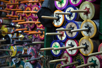 Kite spools at a workshop in Bowbazar, Kolkata, India. Kite flying is a national pasttime in India.