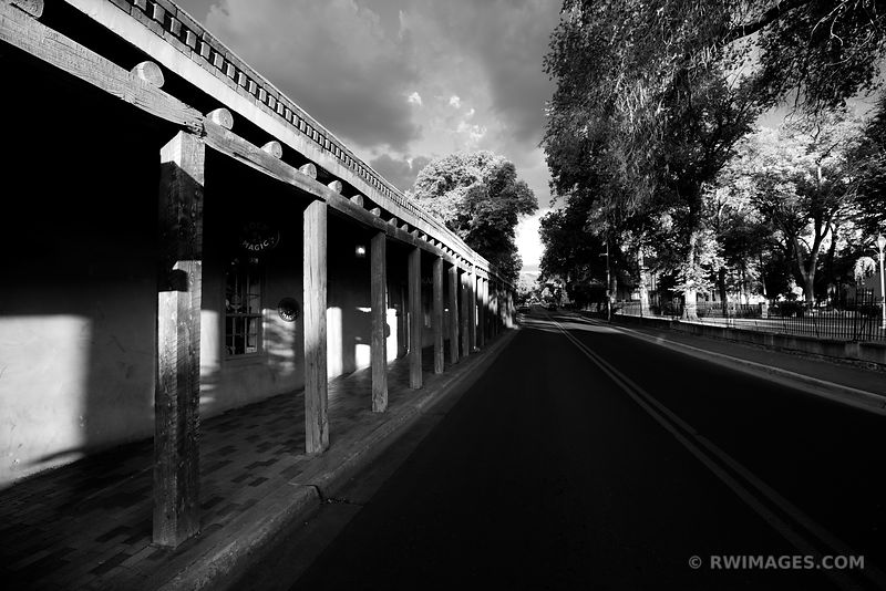 HISTORIC BUILDING ON SENA PLAZA SANTA FE NEW MEXICO ARCHITECTURE BLACK AND WHITE