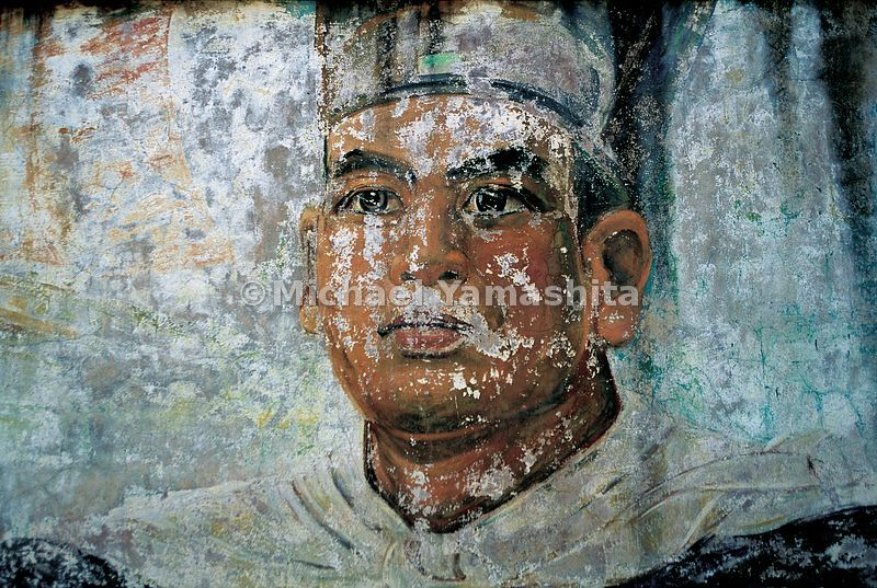 This faded mural of Zheng He is painted on the wall of a park dedicated to him in his hometown of Kunyang, in Yunnan province...