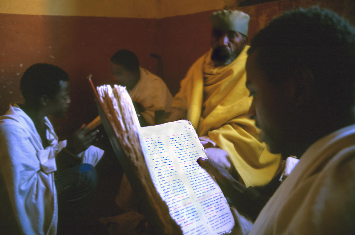 Students recite biblical texts under the supervision of a senior monk at the Debre Bizen Orthodox Christian monastery in the ...