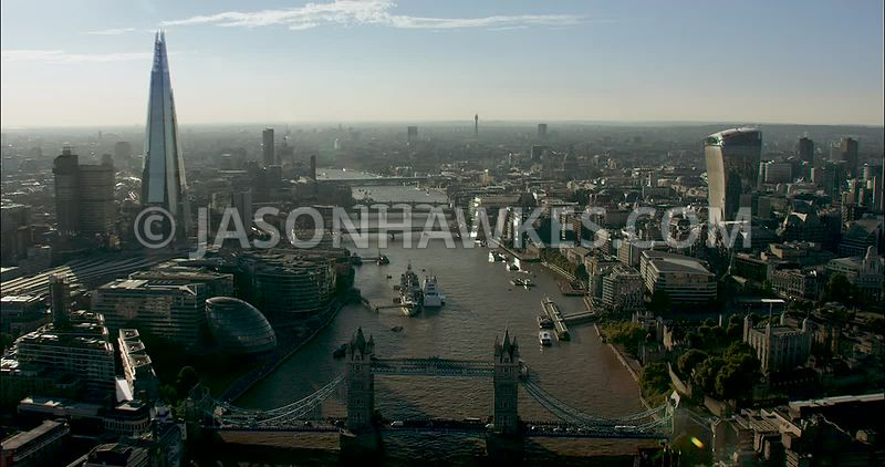 London Aerial Footage of River Thames, Tower Bridge to London Bridge