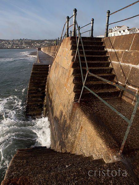 granite steps on Penzance seafront
