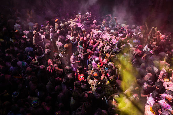 Revellers Playing Holi at the Shri Banke Bihar Temple