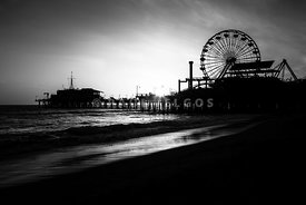 Santa Monica Pier in Black and White