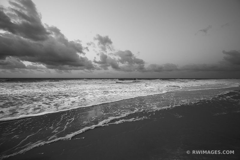 SUNRISE ATLANTIC OCEAN ASSATEAGUE NATIONAL SEASHORE MARYLAND BLACK AND WHITE