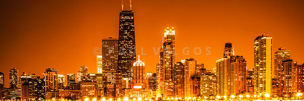 Chicago Panorama Skyline at Night Orange Tone