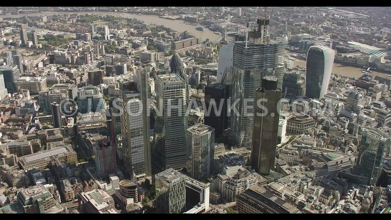 Aerial footage of the City of London ( Square Mile ) London.