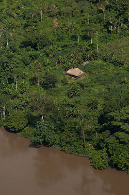 Native Indian house along the Aguarico River in Cuyabeno Reserve, seen from the air. Ecuador, June 2007.