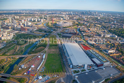 Aerial view of Here East, River Lee ,Queen Elizabeth Olympic Park, London