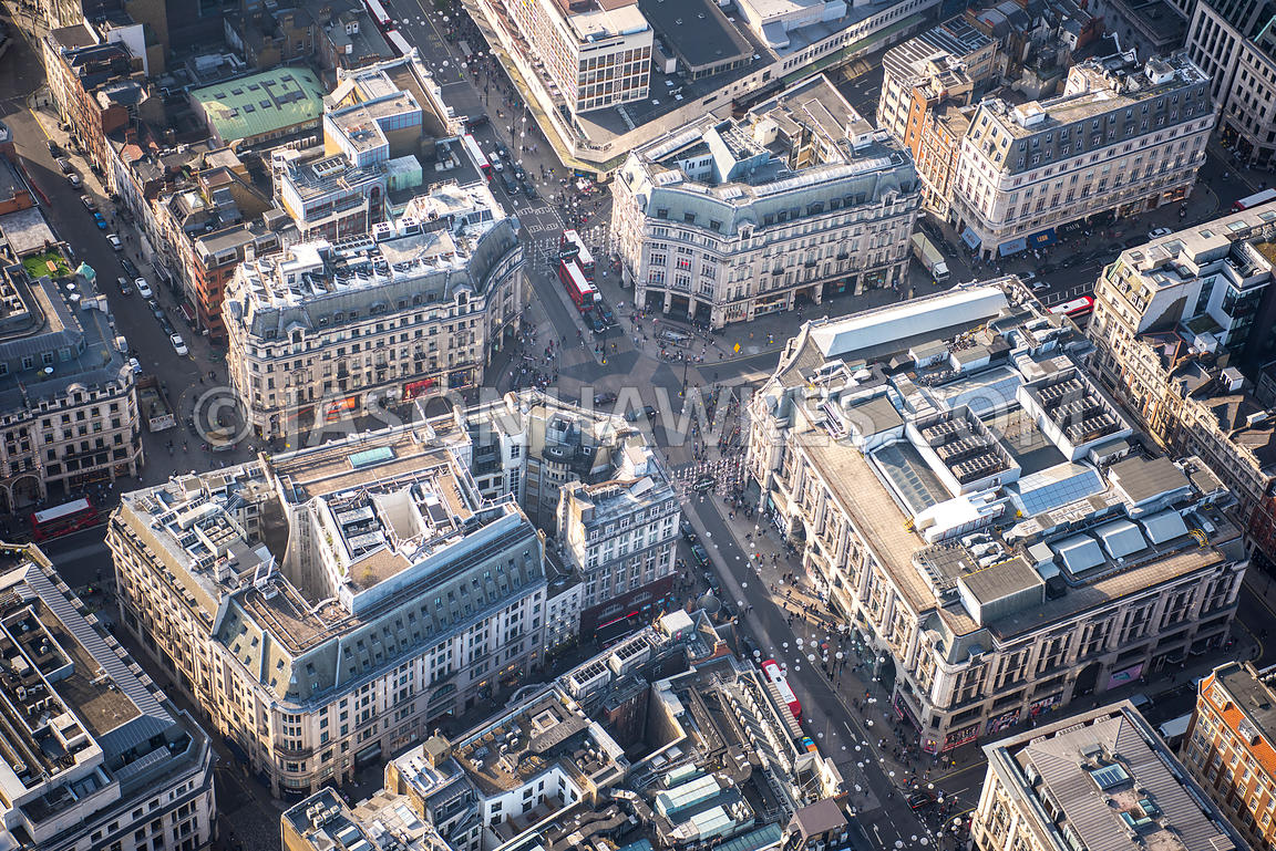Aerial view of London, Oxford Street with Regent Street.
