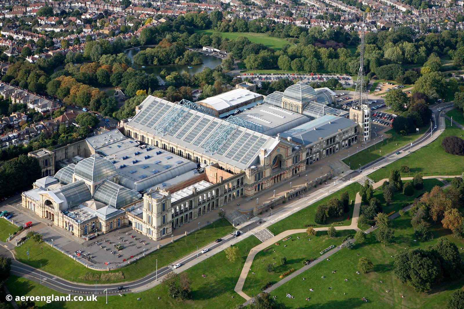 aerial photograph of  Alexander Palace  London UK
